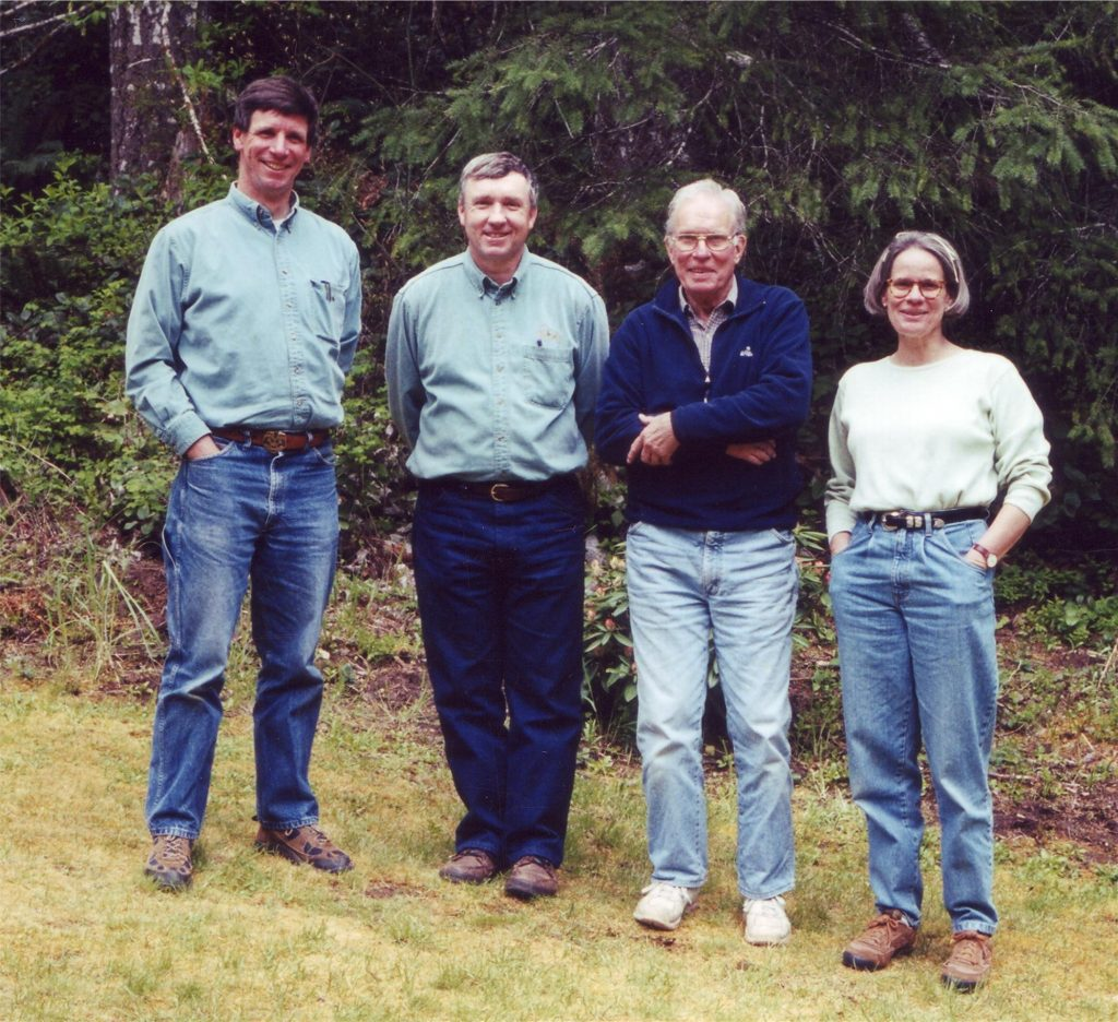 Peter, Ned and Anna Hayes with forester Mike Barnes (2nd from left)